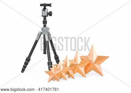 Rating Of Tripod Concept. Tripod For Camera Or Camcorder With Five Golden Stars, 3d Rendering Isolat
