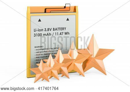 Rating Of Lithium Ion Cell Phone Battery Concept. Cell Phone Battery With Five Golden Stars, 3d Rend