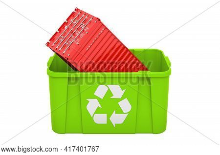Recycling Trashcan With Cargo Container. 3d Rendering Isolated On White Background