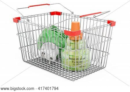 Shopping Basket With Fumigator, 3d Rendering Isolated On White Background
