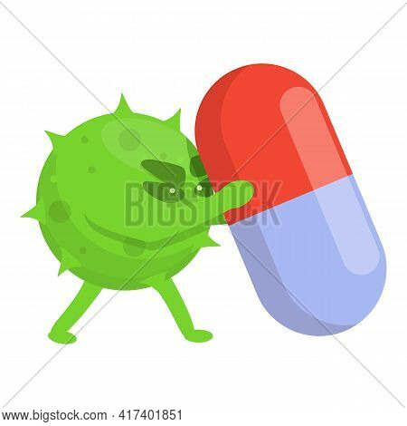 Capsule Antibiotic Resistance Icon. Cartoon Of Capsule Antibiotic Resistance Vector Icon For Web Des