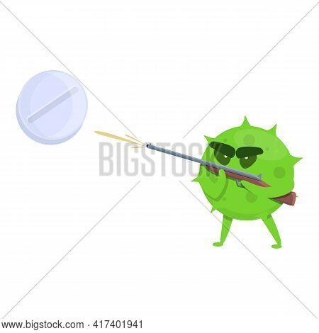 Monster Antibiotic Resistance Icon. Cartoon Of Monster Antibiotic Resistance Vector Icon For Web Des