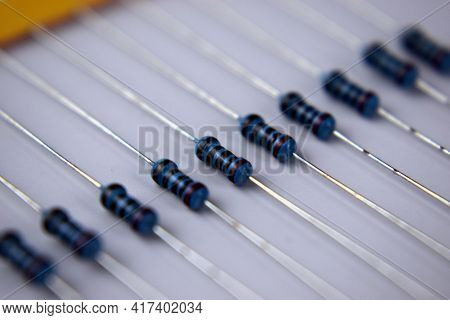 Set Of Blue Resistors In A Row, Close Up