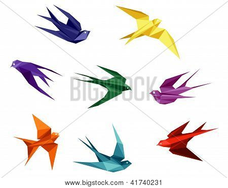 Swallows set in origami style isolated on white background poster