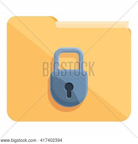 Folder Password Protection Icon. Cartoon Of Folder Password Protection Vector Icon For Web Design Is