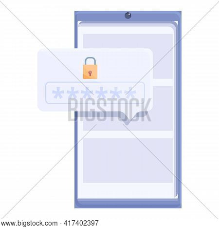 Phone Digital Password Protection Icon. Cartoon Of Phone Digital Password Protection Vector Icon For