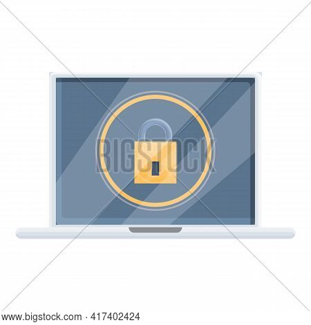 Great Laptop Password Protection Icon. Cartoon Of Great Laptop Password Protection Vector Icon For W