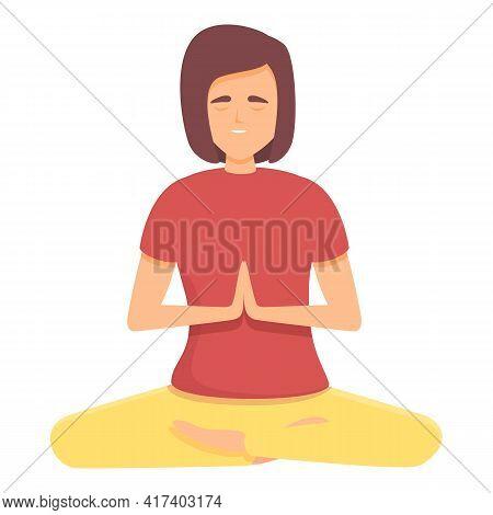 Ayurvedic Meditation Icon. Cartoon Of Ayurvedic Meditation Vector Icon For Web Design Isolated On Wh