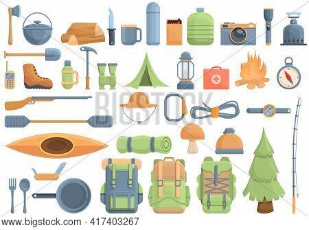 Equipment For Hike Icons Set. Cartoon Set Of Equipment For Hike Vector Icons For Web Design