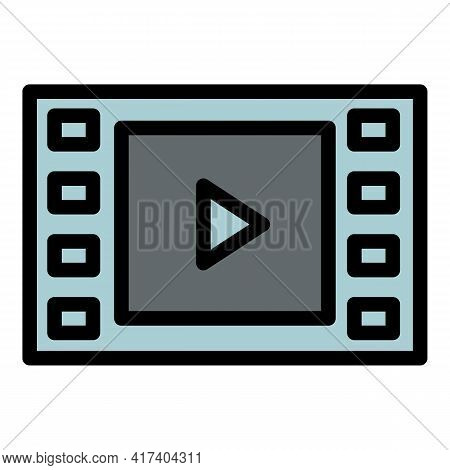 Video Clip Icon. Outline Video Clip Vector Icon For Web Design Isolated On White Background