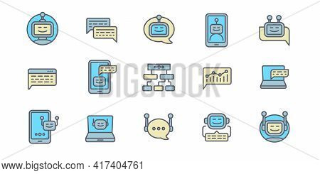 Chatbot Icons Set. Outline Set Of Chatbot Vector Icons For Web Design Isolated On White Background