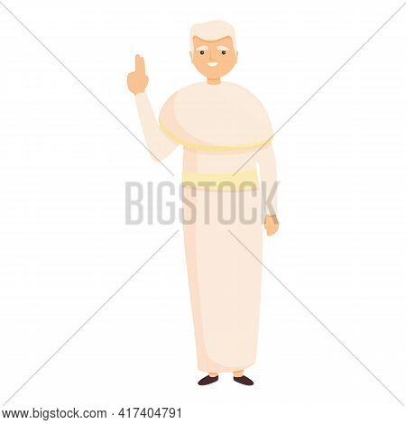 Priest White Clothes Icon. Cartoon Of Priest White Clothes Vector Icon For Web Design Isolated On Wh