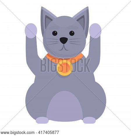 Fortune Lucky Cat Icon. Cartoon Of Fortune Lucky Cat Vector Icon For Web Design Isolated On White Ba