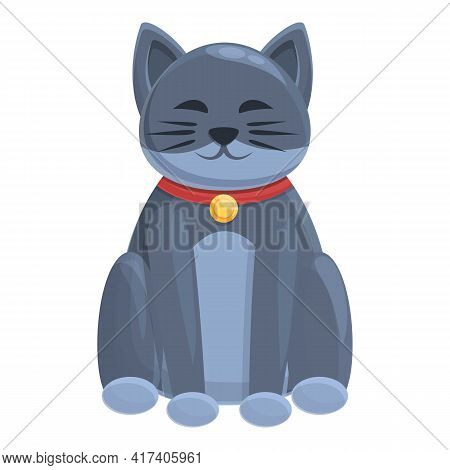Maneki Lucky Cat Icon. Cartoon Of Maneki Lucky Cat Vector Icon For Web Design Isolated On White Back