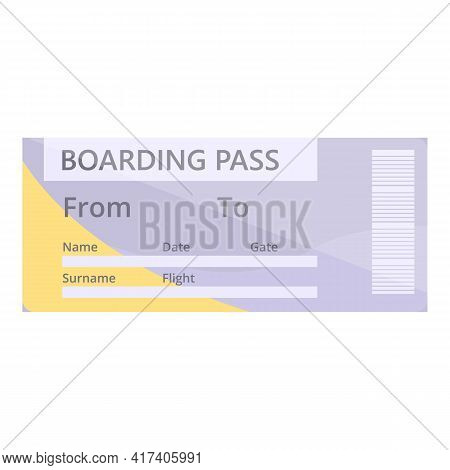 Airline Ticket Icon. Cartoon Of Airline Ticket Vector Icon For Web Design Isolated On White Backgrou