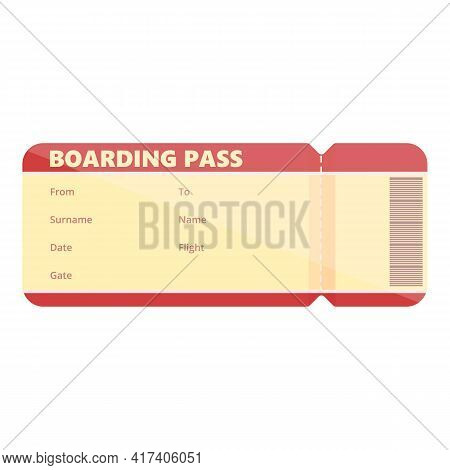 Fly Boarding Pass Icon. Cartoon Of Fly Boarding Pass Vector Icon For Web Design Isolated On White Ba