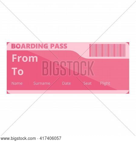 Holiday Boarding Pass Icon. Cartoon Of Holiday Boarding Pass Vector Icon For Web Design Isolated On