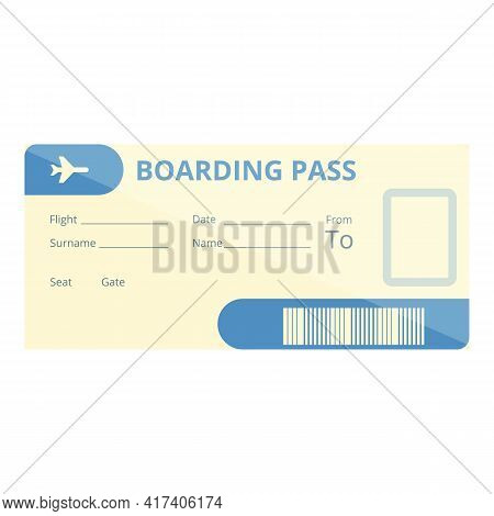 Paper Boarding Pass Icon. Cartoon Of Paper Boarding Pass Vector Icon For Web Design Isolated On Whit