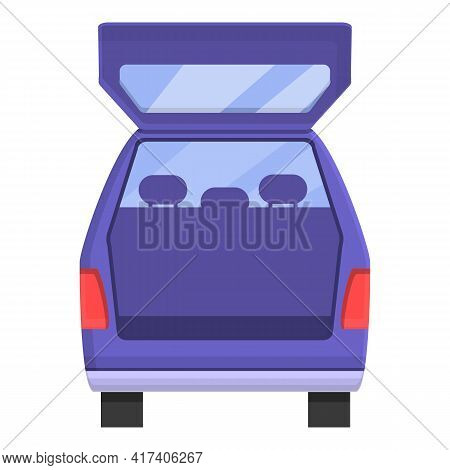 Open Trunk Car Icon. Cartoon Of Open Trunk Car Vector Icon For Web Design Isolated On White Backgrou