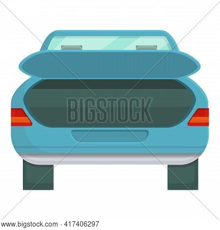 Empty Trunk Car Icon. Cartoon Of Empty Trunk Car Vector Icon For Web Design Isolated On White Backgr