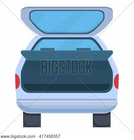 Wide Trunk Car Icon. Cartoon Of Wide Trunk Car Vector Icon For Web Design Isolated On White Backgrou