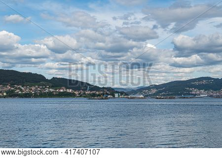 View Of The Beginning Of The Vigo Estuary In Spain With Clouds In Spring