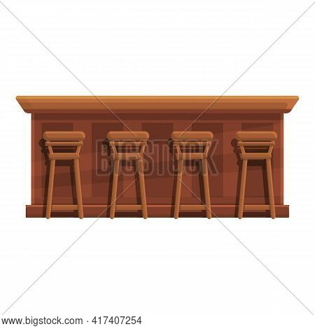 Table Bar Counter Icon. Cartoon Of Table Bar Counter Vector Icon For Web Design Isolated On White Ba