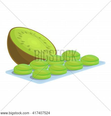 Kiwi Cough Drops Icon. Cartoon Of Kiwi Cough Drops Vector Icon For Web Design Isolated On White Back