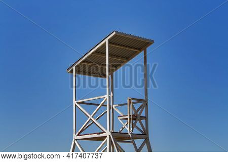Rescue Tower Against Blue Sky. Rescue Tower.