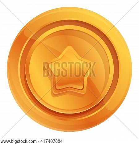 Ranking Gold Coin Icon. Cartoon Of Ranking Gold Coin Vector Icon For Web Design Isolated On White Ba