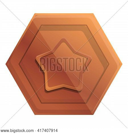 Ranking Bronze Coin Icon. Cartoon Of Ranking Bronze Coin Vector Icon For Web Design Isolated On Whit