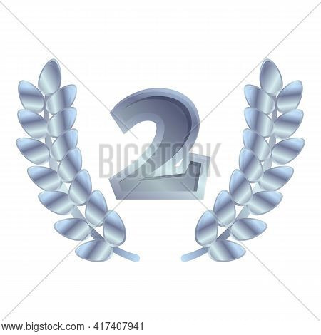 Second Place Laurel Icon. Cartoon Of Second Place Laurel Vector Icon For Web Design Isolated On Whit