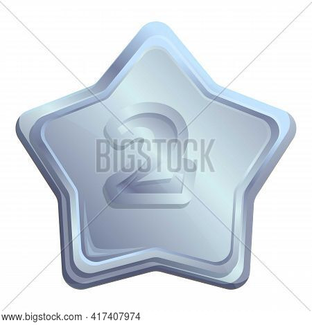 Silver Place Star Icon. Cartoon Of Silver Place Star Vector Icon For Web Design Isolated On White Ba