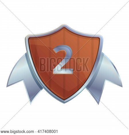 Second Place Shield Icon. Cartoon Of Second Place Shield Vector Icon For Web Design Isolated On Whit