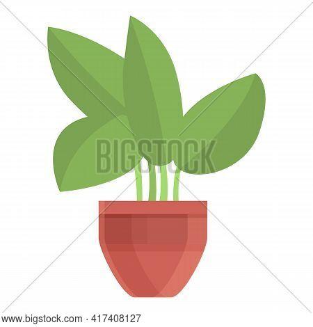 Seeding Plant Pot Icon. Cartoon Of Seeding Plant Pot Vector Icon For Web Design Isolated On White Ba