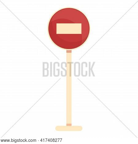No Entry Road Sign Icon. Cartoon Of No Entry Road Sign Vector Icon For Web Design Isolated On White