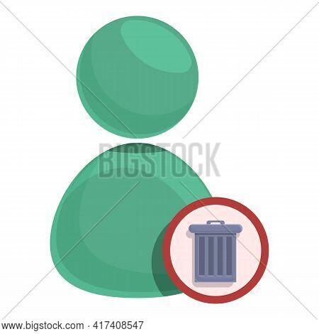 Delete User Button Icon. Cartoon Of Delete User Button Vector Icon For Web Design Isolated On White