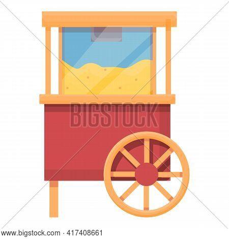 Popcorn Push Cart Icon. Cartoon Of Popcorn Push Cart Vector Icon For Web Design Isolated On White Ba