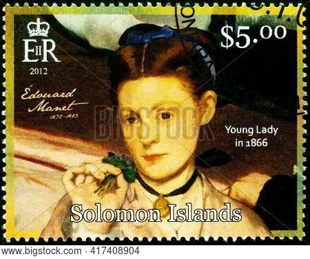 Moscow, Russia - April 15, 2021: Stamp Printed In Solomon Islands Shows Portrait Of Young Lady By Fr