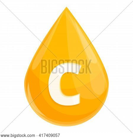 Vitamin C Drop Icon. Cartoon Of Vitamin C Drop Vector Icon For Web Design Isolated On White Backgrou