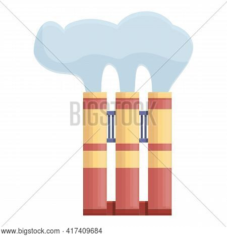 Industrial Chimney Icon. Cartoon Of Industrial Chimney Vector Icon For Web Design Isolated On White