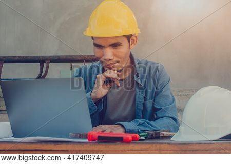 Asian Man Engineer Working Design Building Construction , Worker  Work By Computer Technology