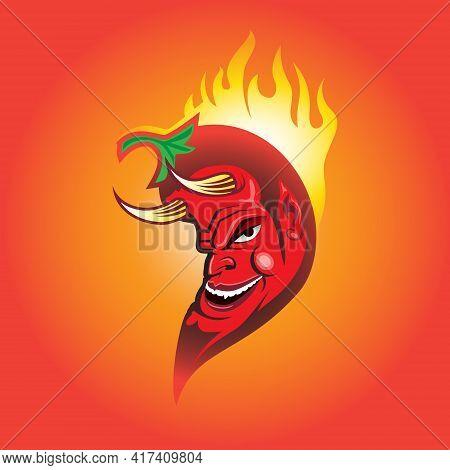 Burning Red Devil Chilli, Mexican Chilli Vector Illustration.
