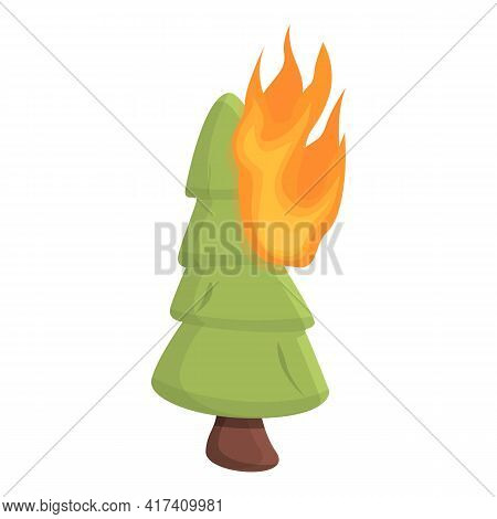 Wildfire Fir Tree Icon. Cartoon Of Wildfire Fir Tree Vector Icon For Web Design Isolated On White Ba