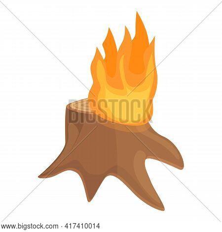 Trunk Burning Icon. Cartoon Of Trunk Burning Vector Icon For Web Design Isolated On White Background
