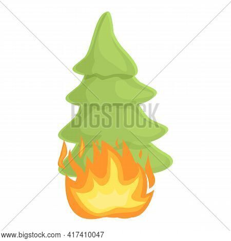 Forest Fire Fir Tree Icon. Cartoon Of Forest Fire Fir Tree Vector Icon For Web Design Isolated On Wh