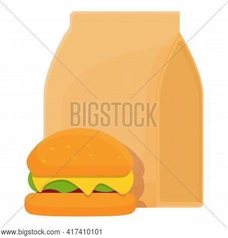 School Breakfast Burger Icon. Cartoon Of School Breakfast Burger Vector Icon For Web Design Isolated