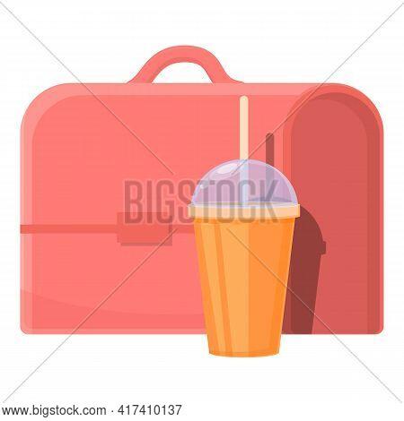 School Breakfast Juice Cup Icon. Cartoon Of School Breakfast Juice Cup Vector Icon For Web Design Is