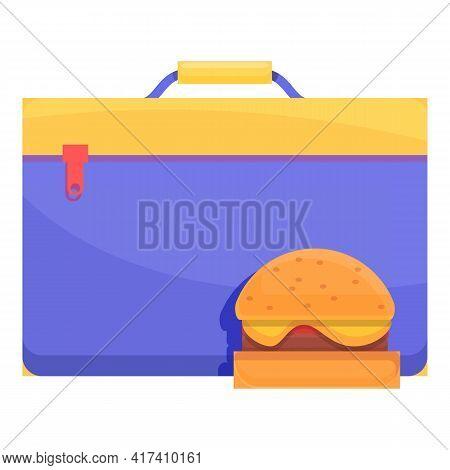 School Breakfast American Burger Icon. Cartoon Of School Breakfast American Burger Vector Icon For W