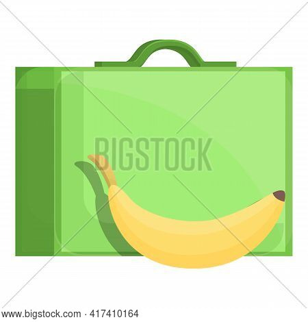 School Breakfast Banana Box Icon. Cartoon Of School Breakfast Banana Box Vector Icon For Web Design